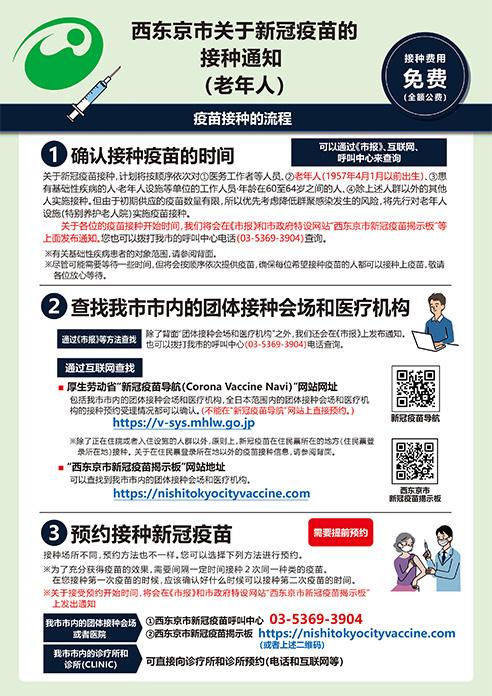 西东京市关于新冠疫苗的  接种通知 (老年人)