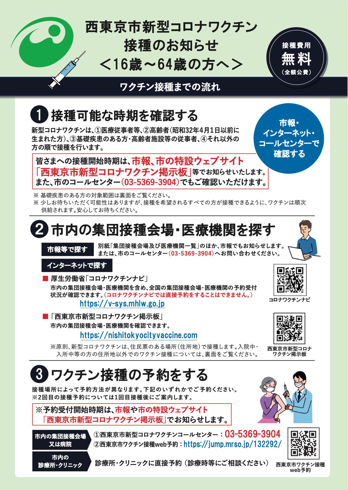 西東京市新型コロナワクチン接種のお知らせ(16歳〜64歳の方へ)